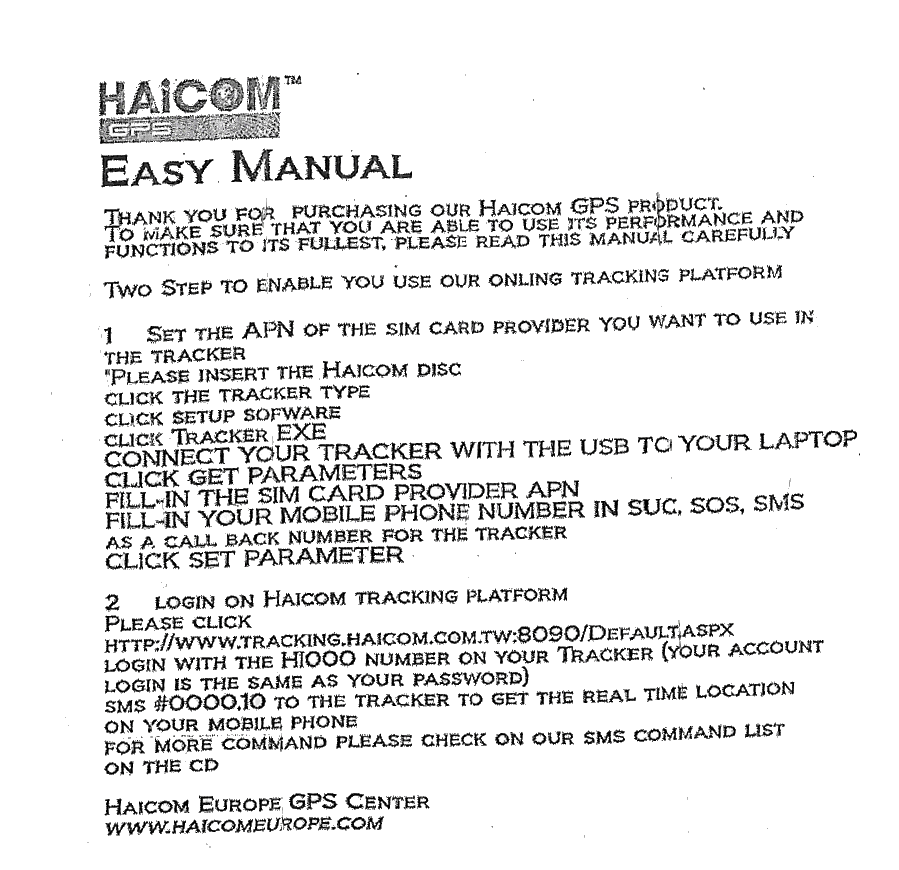 Haicom HI-604X GPS+GSM Realtime Tracker + 5500 mAh Battery Pack